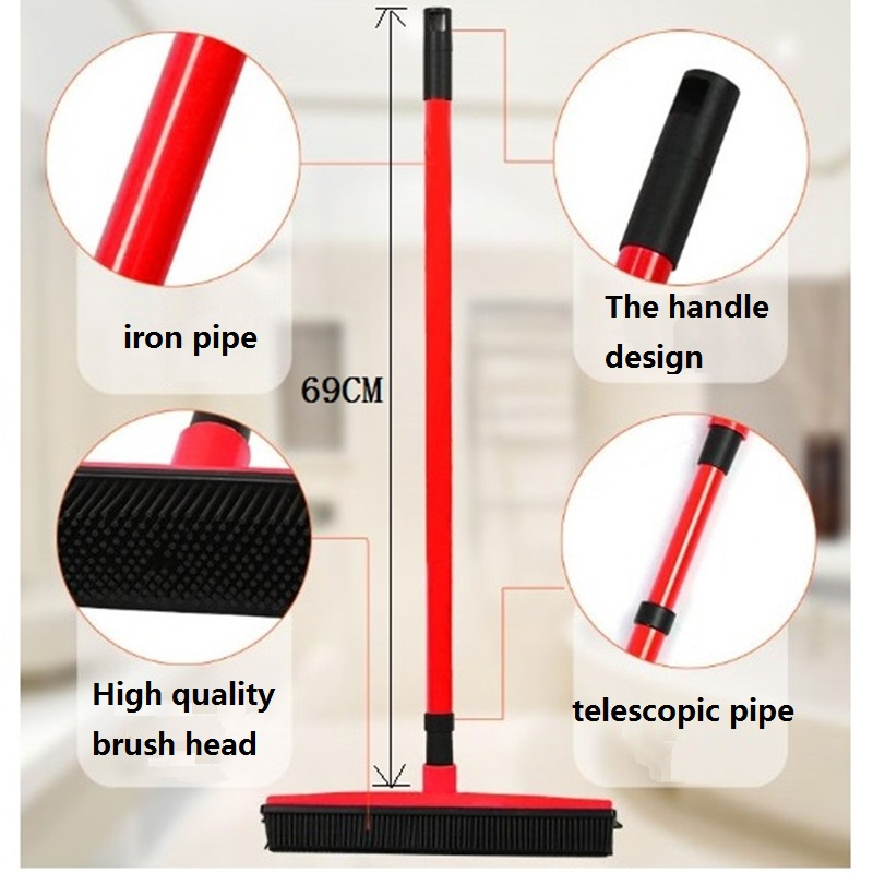 Broom Cleaner Carpet-Sweeper Pet-Hair-Removal-Brush Telescopic Dust-Mop Rubber Floor