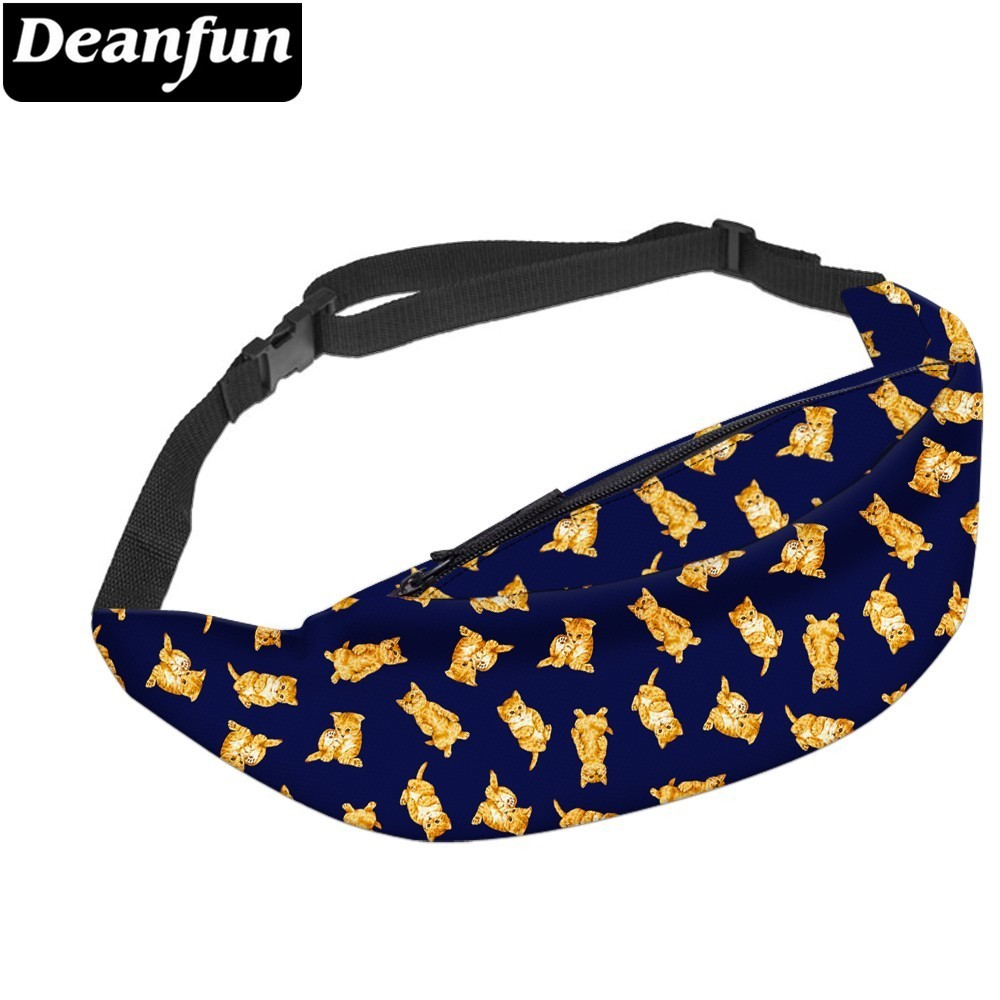 Deanfun Orange Cat Waist Pack Waterproof Funny Pack Belt Bag Hip Bum Bag With Adjustable Strap For Travel  YB-32