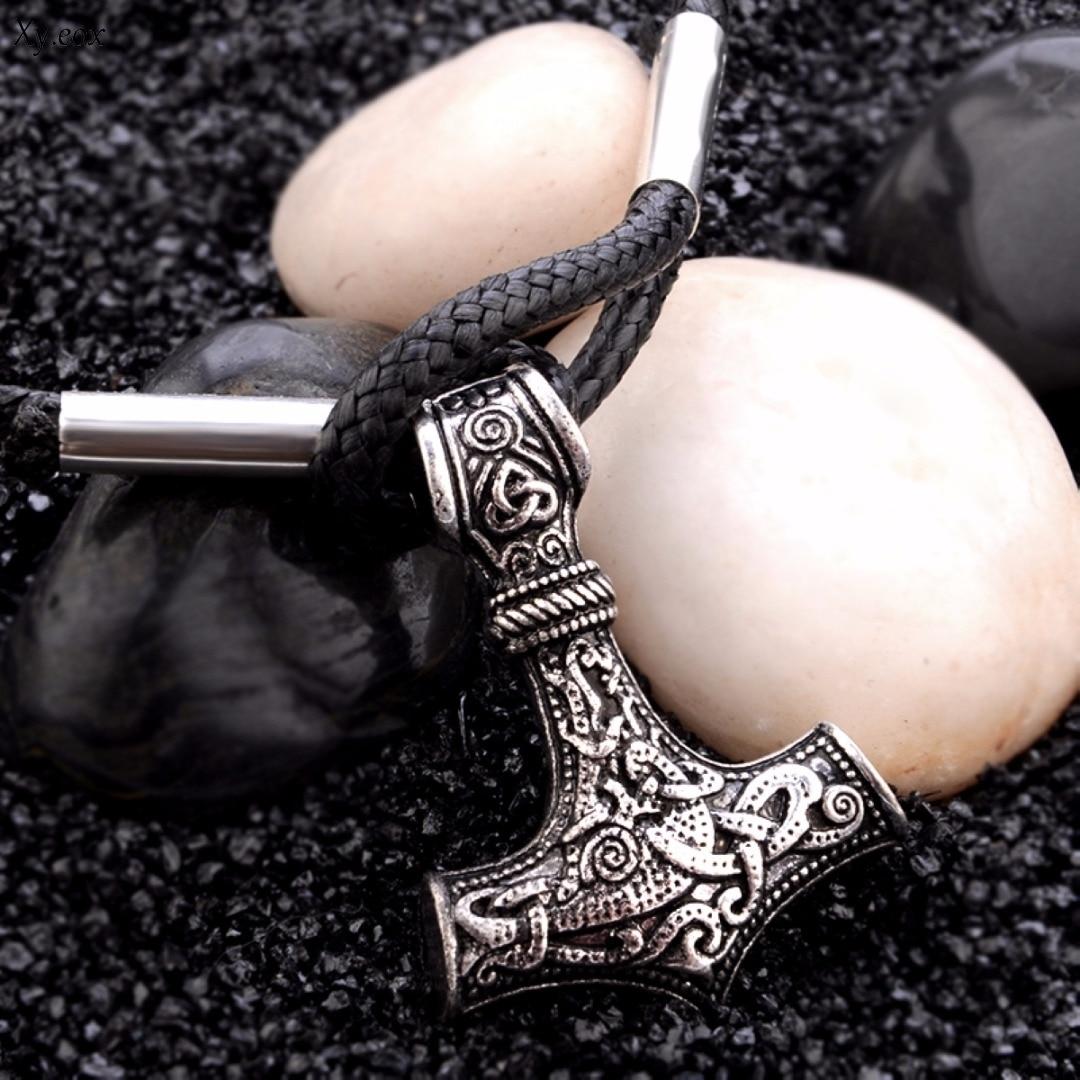 Punk Men Retro Norse Viking Thor/'s Hammer Amulet Pendant Leather Bracelet Jewery