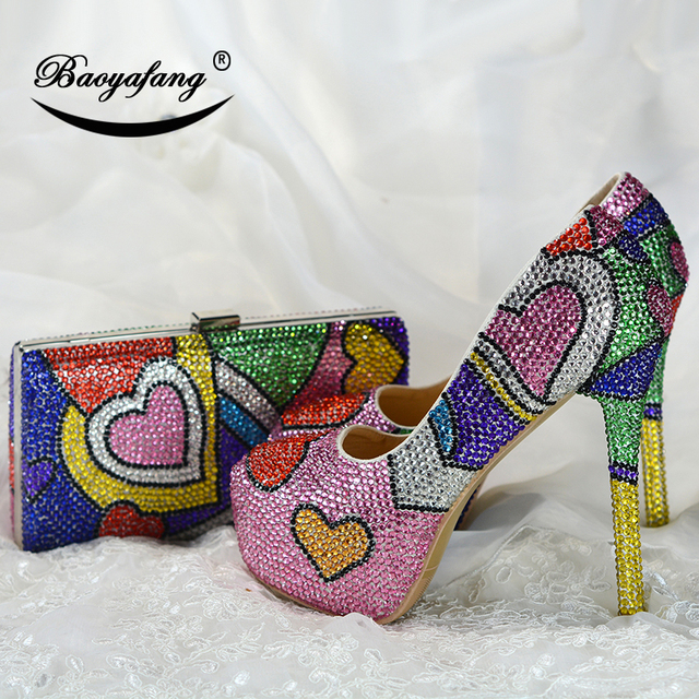 Multicolored cyrstal wedding shoes with matching bags fashion shoes womens Pumps High heels Party dress shoe big size 43