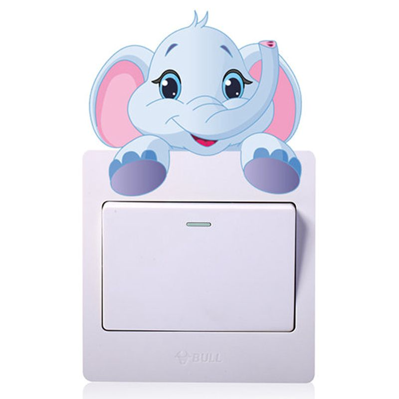 Cute Animals Elephant Light Switch Sticker Remoable Wall For Kids Home Decal Murla Decor
