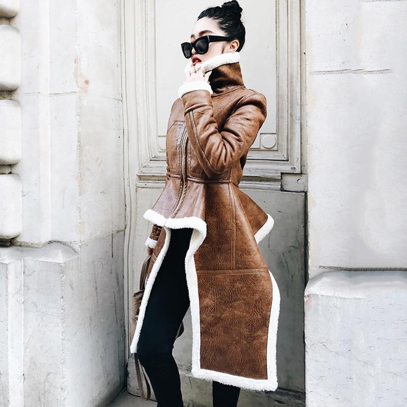 Nouvelle Irrégulière Lanmrem À 2018 Pu Vêtements Zipper Spéciale Manteau Personnalité Be285 Coton La Long Type Offre D'hiver Mode Brown pw5wyISWrq