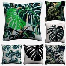 Monstera Nordic Tropical Plant Decorative Linen Cushion Cover For Sofa Chair 45x45cm Throw Pillow Case Home Decor Almofada rc air swimmer fish