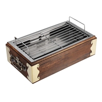 Portable Wood Stainless Steel Bbq Grill Food Barbecue Cooking Tools Charcoal Barbecue Stove Camping Bbq Tools Kitchen Accessor