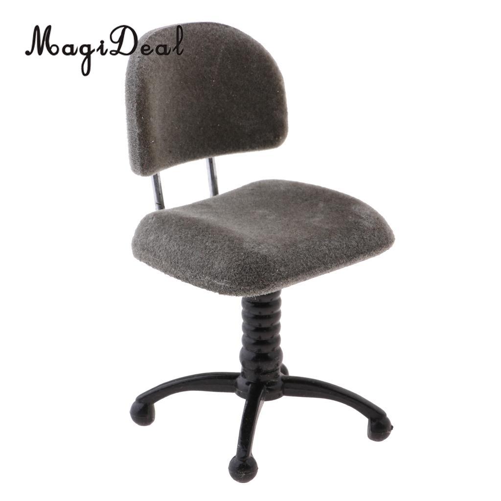 2pcs 1//12 Miniature Revolving Chair Fluffy Chair Dollhouse Life Scene Decor