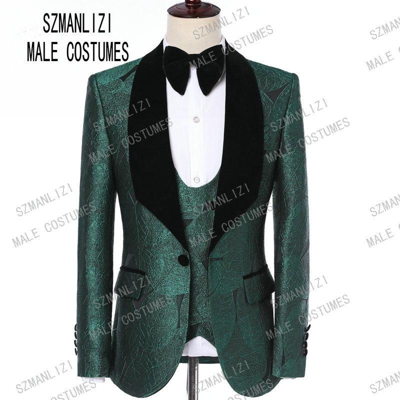 Traje De Hombre 2019 Groomsmen Men Suit Slim Fit 3 Piece Green Leaves Fashion Design Groom Dress Party Suits Wedding Tuxedo