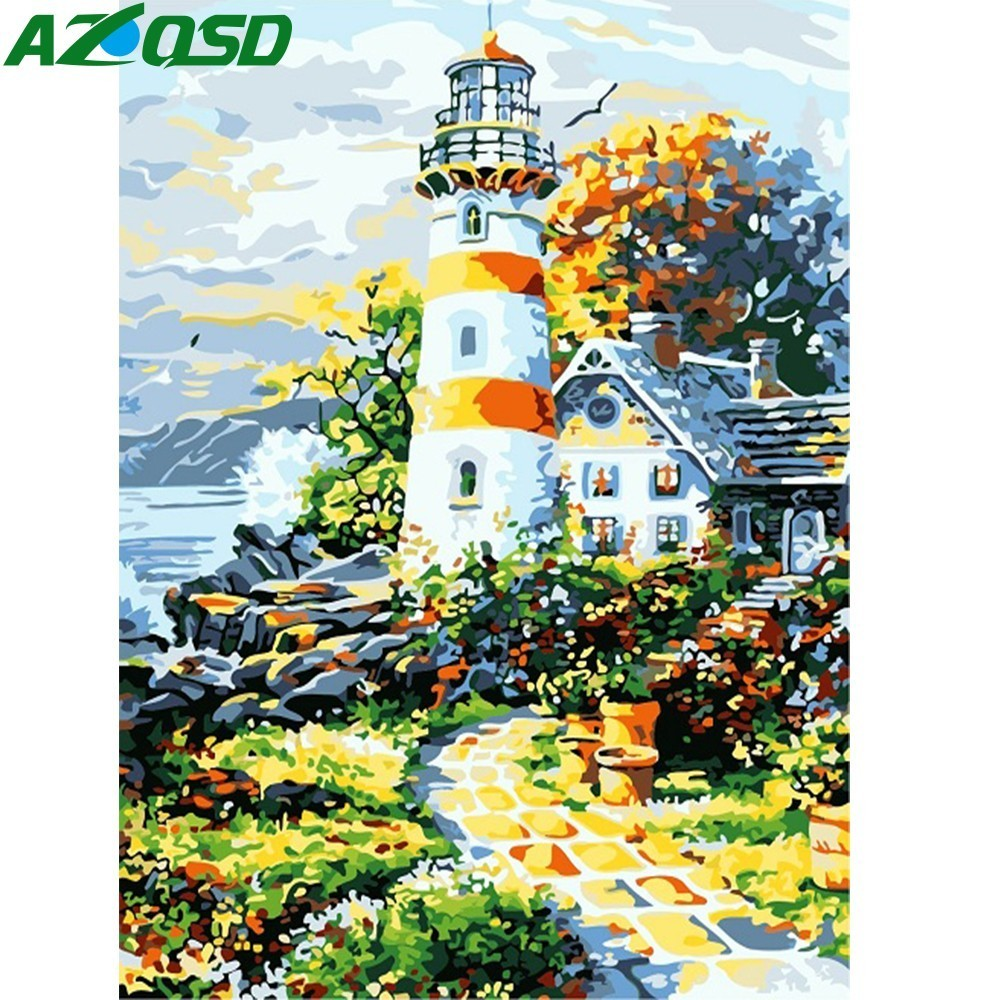 AZQSD DIY Oil Painting Lighthouse Painting By Numbers Seaside Home Decoration Paint Canvas Picture Hand Painted Modern