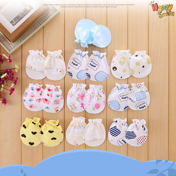 6 Pairs Infant's Mittens Protective Breathable Scratch Mittens Baby Gloves Scratch Gloves Baby Hand Gloves Random Pattern