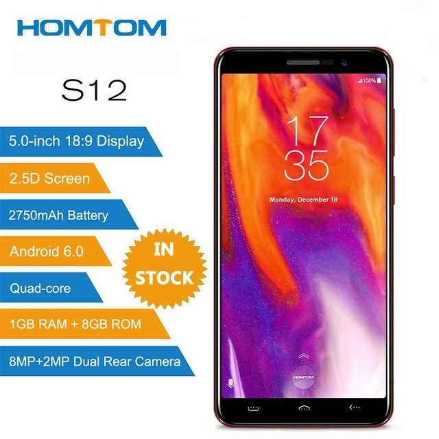 HOMTOM S12 MT6580 Quad Core Android 6.0 Smartphone 5.0 Inch 18:9 Display Dual Back Cameras 1GB RAM 8GB ROM 3G Mobile PhoneHOMTOM S12 MT6580 Quad Core Android 6.0 Smartphone 5.0 Inch 18:9 Display Dual Back Cameras 1GB RAM 8GB ROM 3G Mobile Phone