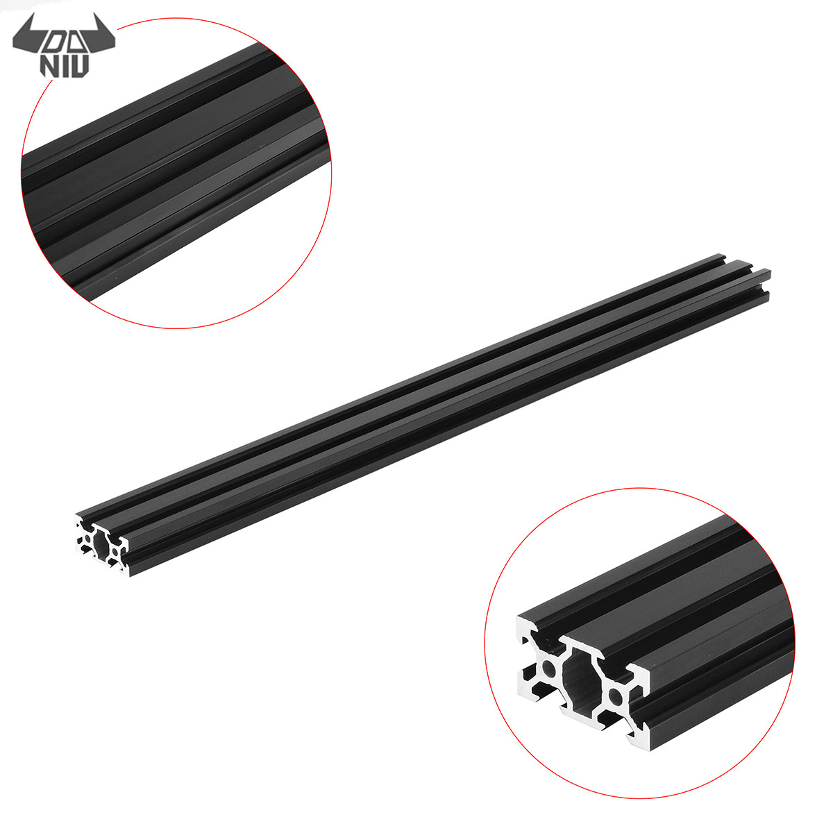 DANIU Durable 500mm <font><b>2040</b></font> <font><b>V</b></font>-<font><b>Slot</b></font> Aluminum Profile Extrusion Frame DIY CNC Tool Black image