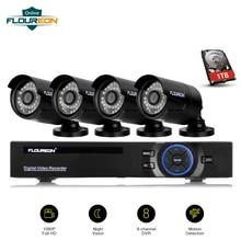 8CH 1080N AHD DVR+ 4 шт наружная 2000TVL 1080P 1.3MP камера s+ 1 ТБ HDD камера видеонаблюдения домашняя/магазинная система безопасности комплект