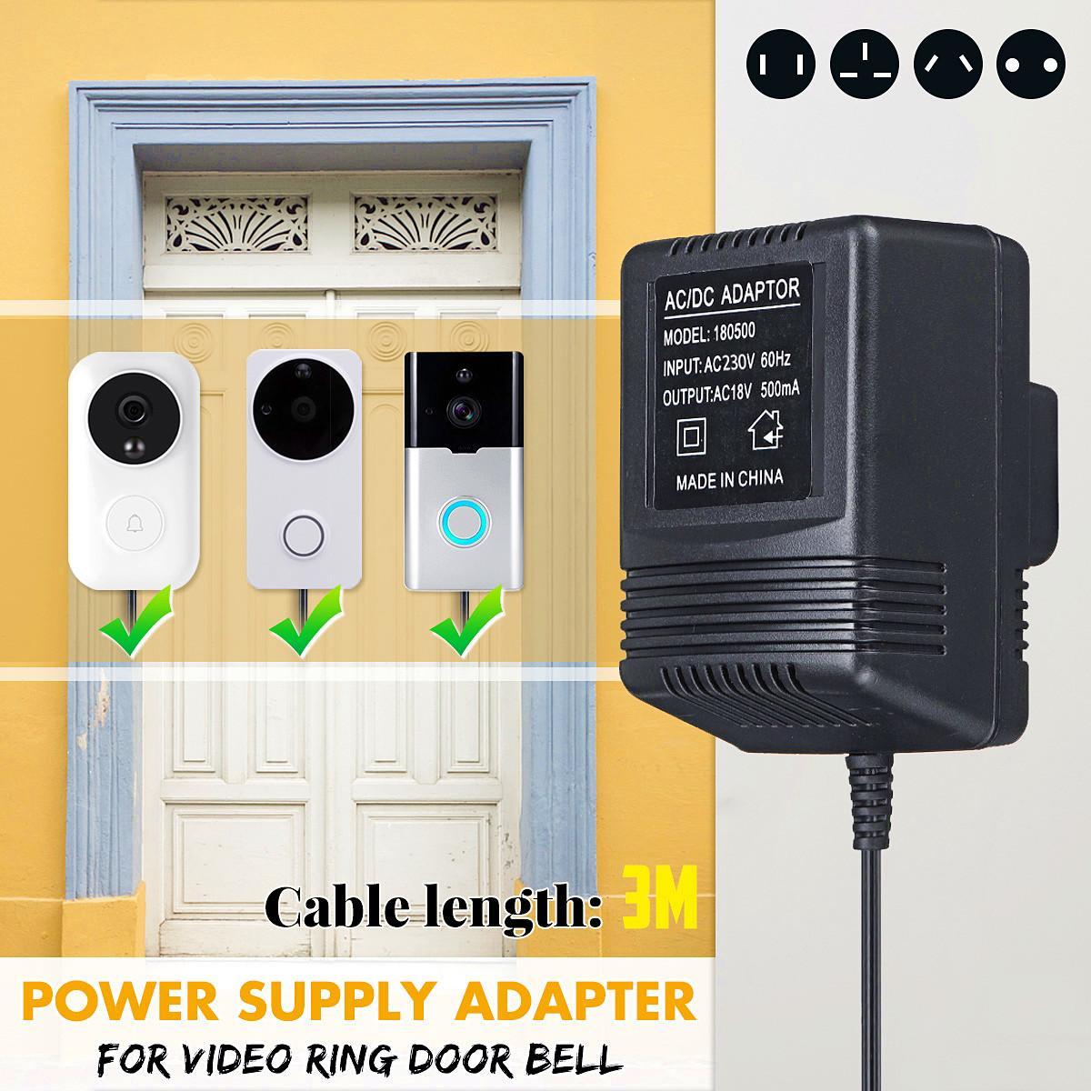 New  110V-230V 3 Meter Cable 18V AC Transformer Wifi Doorbell Camera Power Adapter for IP Video Intercom Ring Wireless DoorbellNew  110V-230V 3 Meter Cable 18V AC Transformer Wifi Doorbell Camera Power Adapter for IP Video Intercom Ring Wireless Doorbell