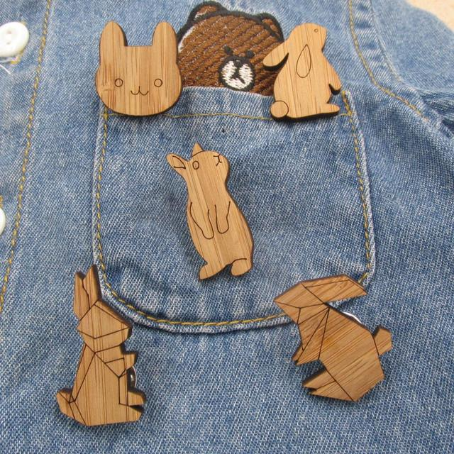 5214528d412 2018 Fashion Origami Crane Rabbit Brooches Enamel Pin Wooden Cony Lapin Brooch  Pin Animal Enamel Pins Badges Jewelry