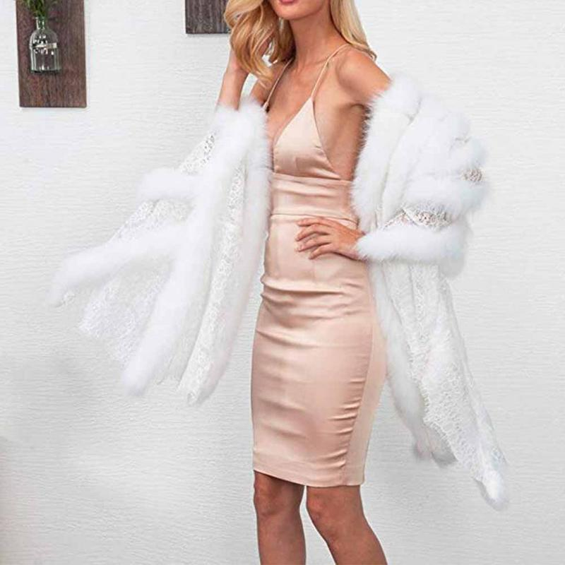 Ladies Jacket Cardigan Shawl Windbreaker Imitation Fur Thick Coat Sleeveless Luxury Temperament Wild Dress Party Daily Wedding