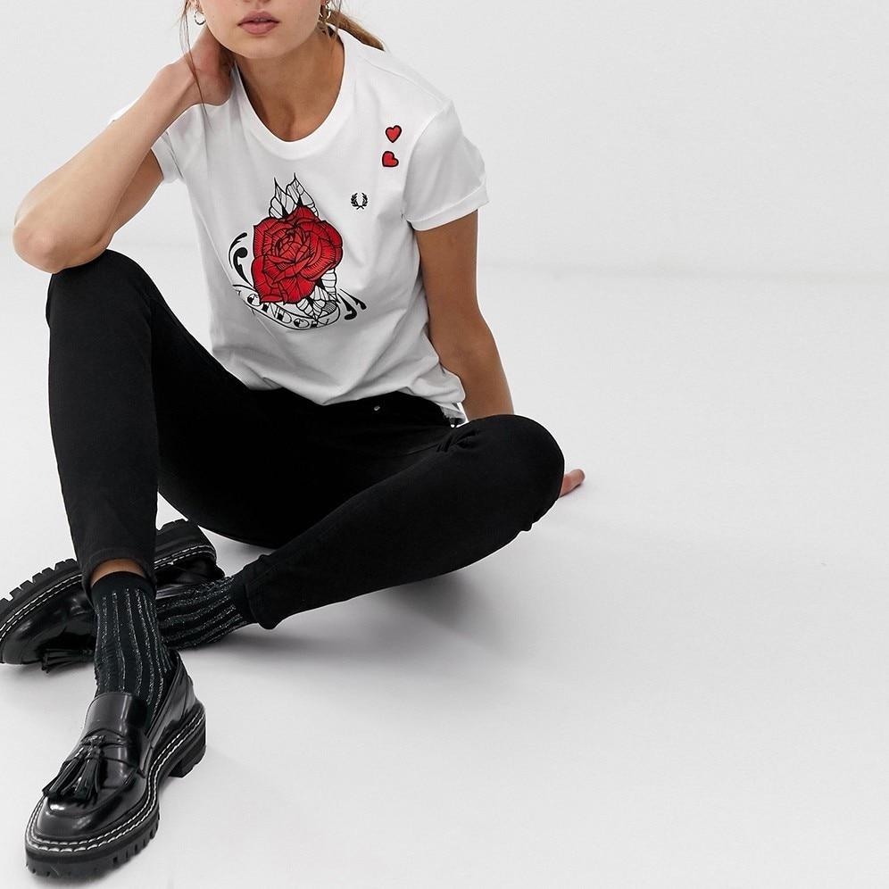 HYH Haoyihui Short Sleeve Tshirts Flower Printing Round Collar White Tops Free Shipping New Summer Short Sleeve T shirt in T Shirts from Women 39 s Clothing