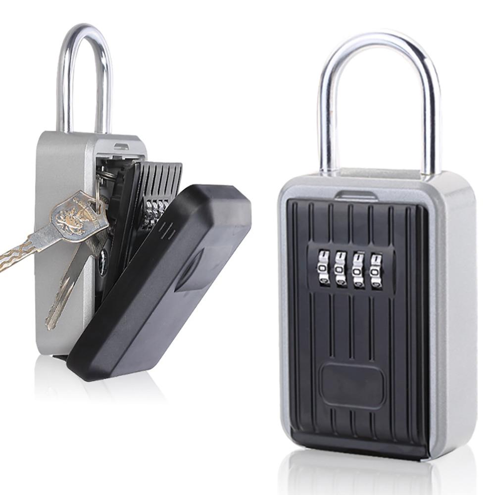 Parede de suspensão ao ar livre chave de armazenamento caixa de bloqueio de 4 dígitos combinação senha chave de segurança caixa de código reconfigurável titular chave hider