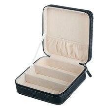 휴대용 PU 가죽 선글라스 상자 여행 보석 저장 상자 그리드 작은 안경 케이스 지퍼 가방 컨테이너 선물 상자