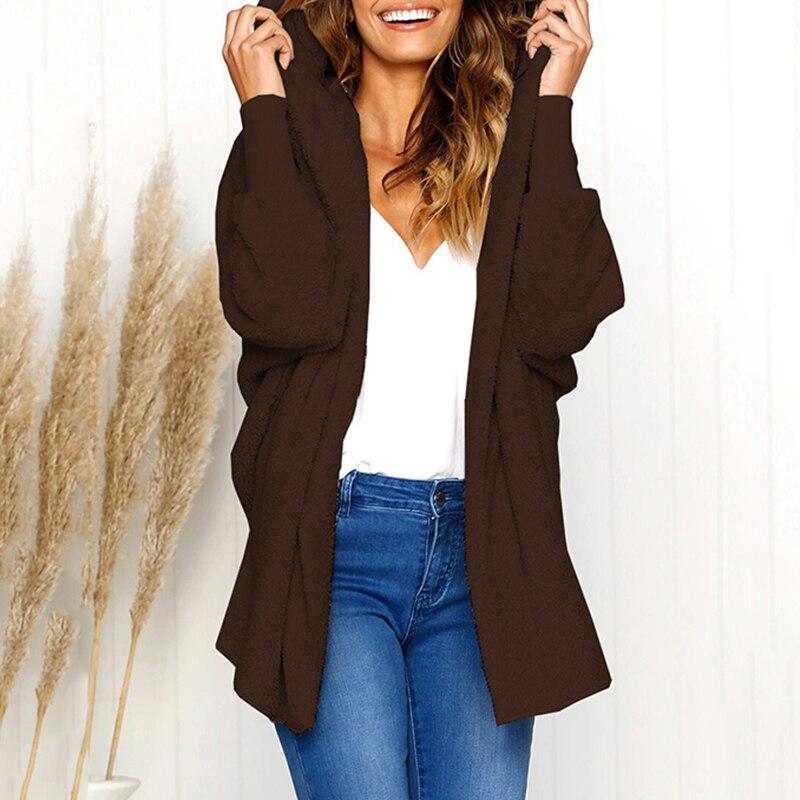 Women Loose Hooded Cardigan Coat Fluffy Faux Fur Batwing Long Sleeves Open Front Long Coat Warm Winter Casual Furry Overcoat