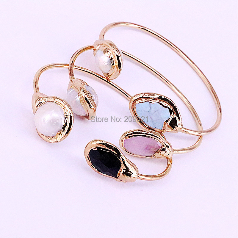 5Pcs New Charm faceted natural stone pearl copper bangle gold color cuff bracelets bangles for women