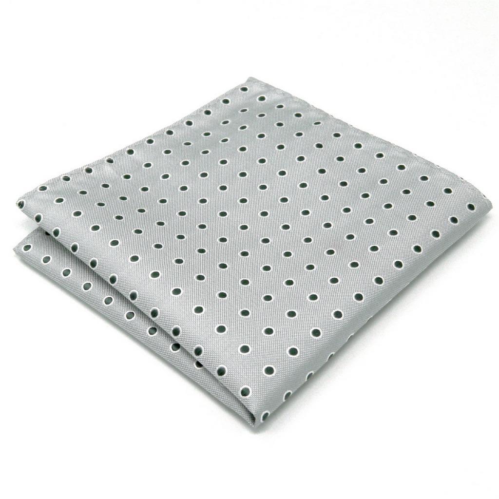 AH21 Handmade Mens Pocket Square Silk Light Gray Black Polka Dots New Fashion Hanky 12.6