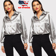 2019 Brand Fashion New Elegant Women Loose Long Sleeve Silk Satin Casual Blouse Shirt Tops Fashion(China)