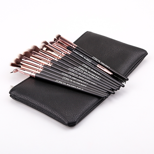 ZOREYA 12pcs professional Makeup Brushes Black Color Eye Shadow Make Up Brush Set Blending Eyeliner Brow Small Fan Cosmetic Tool 1