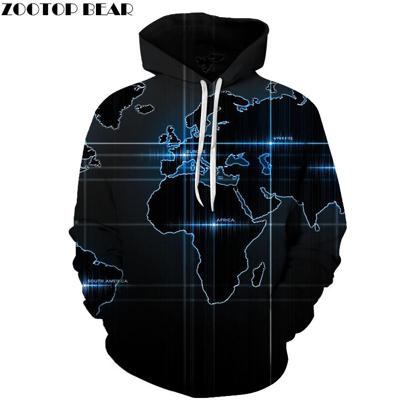Map And The Props Sweatshirts Unisex Hoodie 3d Print Pullover Harajuku Men Hoodies Streetwear Coat Spring Cloth Size Zootop Bear