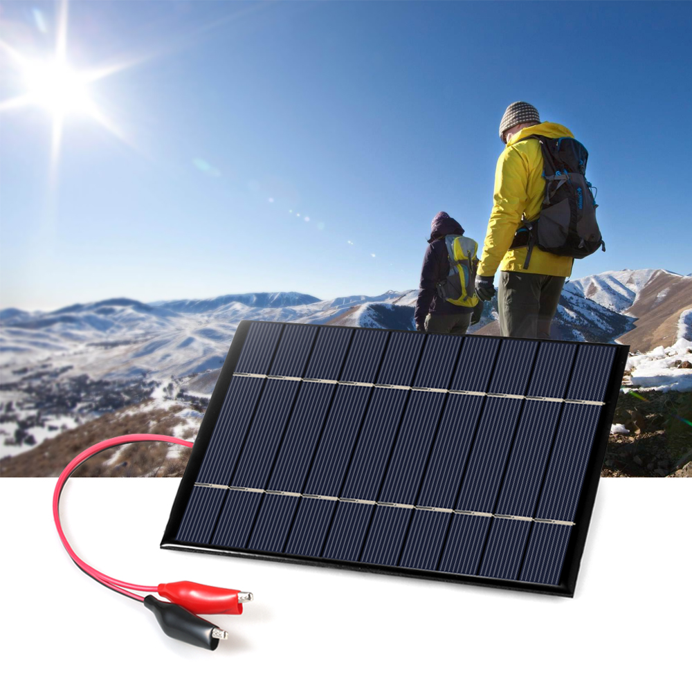 2 5W 5V Polycrystalline Silicon Solar Panel with Alligator Clips Solar Cell for DIY Power Charger
