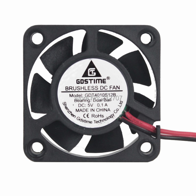 Gdstime 20Pcs Cooler 40*40*10mm 5V DC 40mm 2 Pin Ball Beaing Computer PC CPU Cooling Case Fan