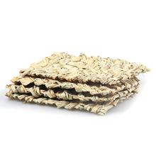 Hand Woven Straw Mat Hamster Guinea Pig Rectangular Breathable Dry Grass Small Pets Nest Pad Safe Edible