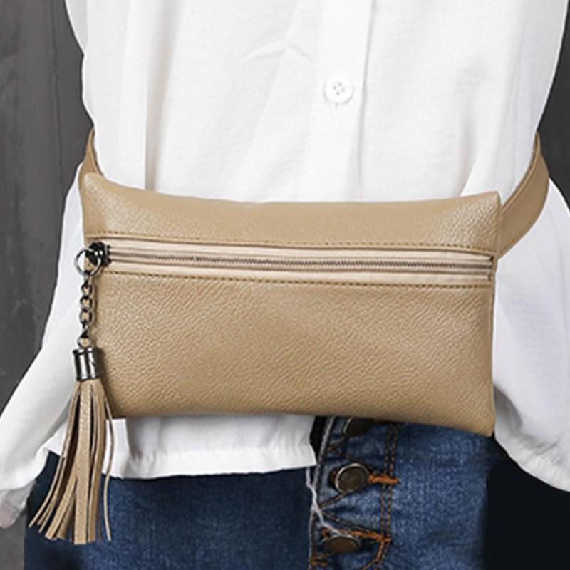 Female New Vintage PU Leather Waist Funny Pack Women Travel Money Phone Belt Waist Purse Bag Ladies Tassels Chest Handbags