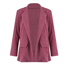 Nueva moda de señora de la Oficina de pana traje de las mujeres Slim OL  Blazer Otoño Invierno negocio chaqueta ropa de abrigo mu. 881f38b938b