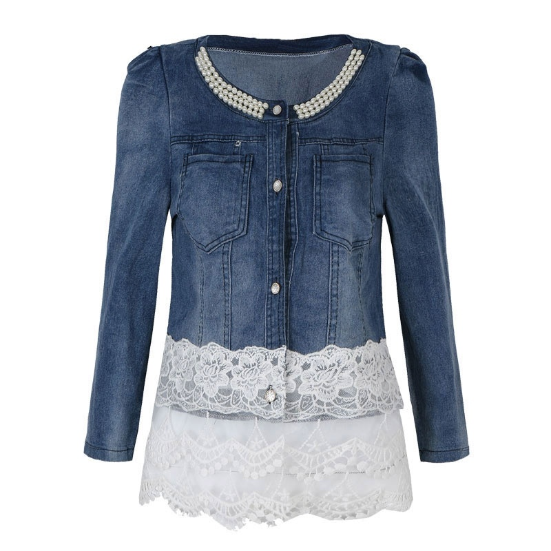 LZMZA Elegant Beading pearl   jacket   women denim   jackets   Casual short   basic     jacket   Slim jean lace   jackets   Plus size 3XL