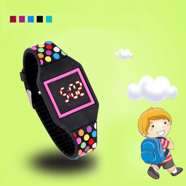 Fun Gifts Children Digital Led Silicone Watch Kids Cartoon Soft Slim
