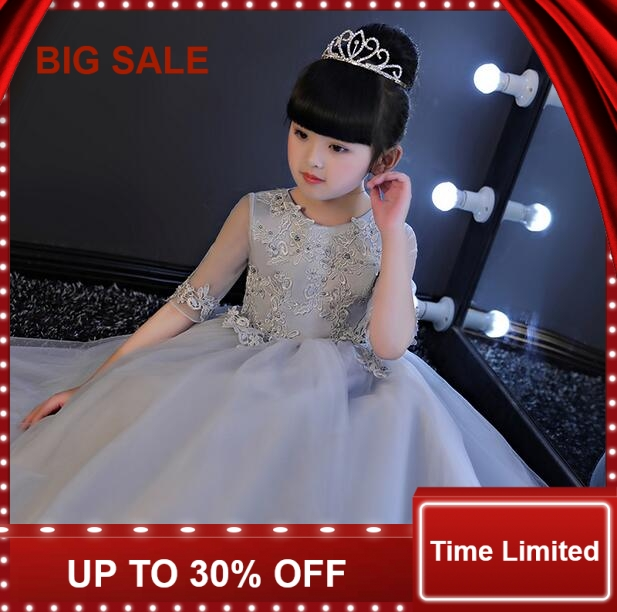 Elegant Half Sleeve Girls Wedding Dress Flower Girl Princess Party Pageant Formal Gown Gray Lace  Dresses