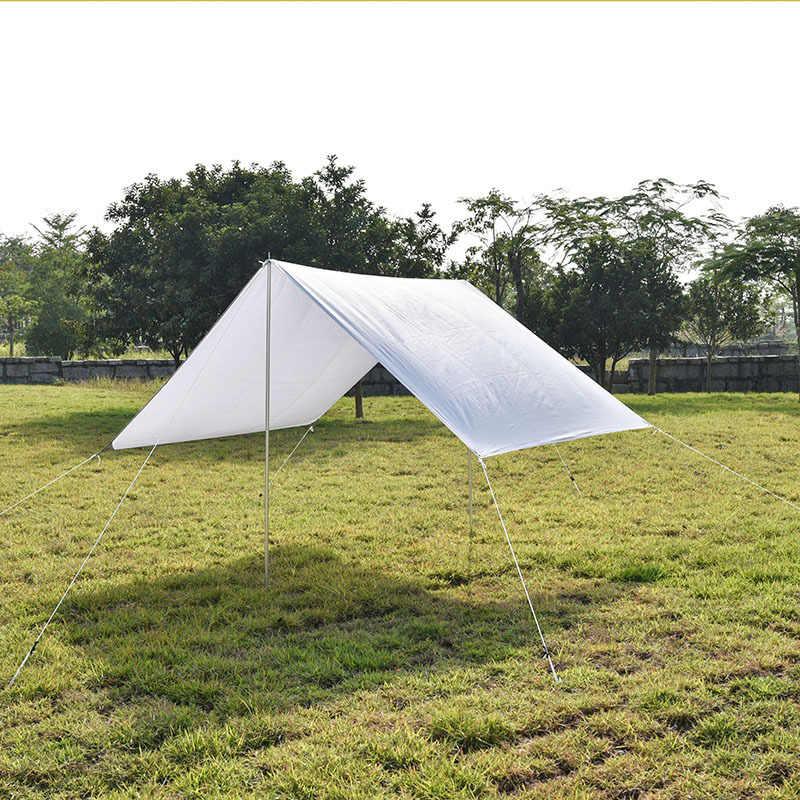8 Pole rayures bleu plage coupe-vent Caravane Camping écran solaire 4.6x1.5m