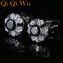 New Silver Plated Black Jewelry Crystal Rhinestone Cufflinks Wedding Shirt Cuff links For Mens Gifts Classic Luxury Qi Wu