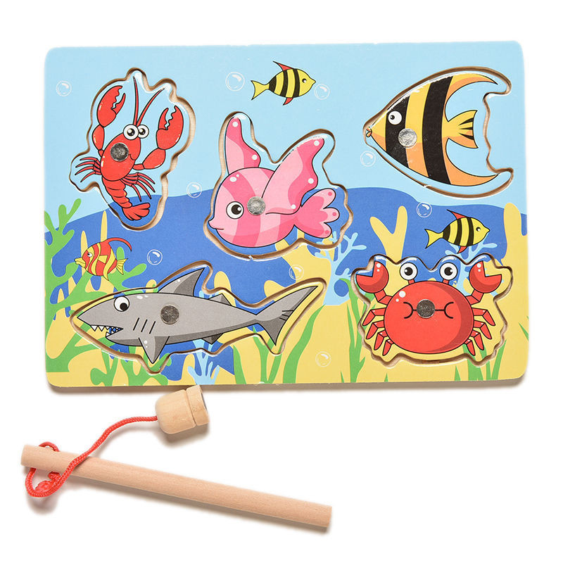 Children Fishing Game Wooden Ocean Jigsaw Board Magnetic Rod Outdoor Fun Toy For Kid Jogos De Tabuleiro Madeira Non-electric