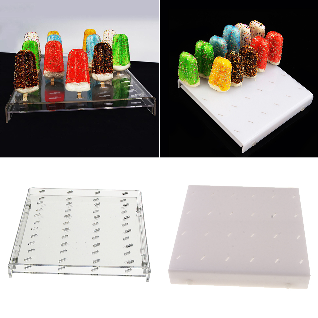 24 Holes Acrylic Ice Cream Sticks Stand Holder Wedding Birthday Party Dessert Decorations Festive & Party Supplies