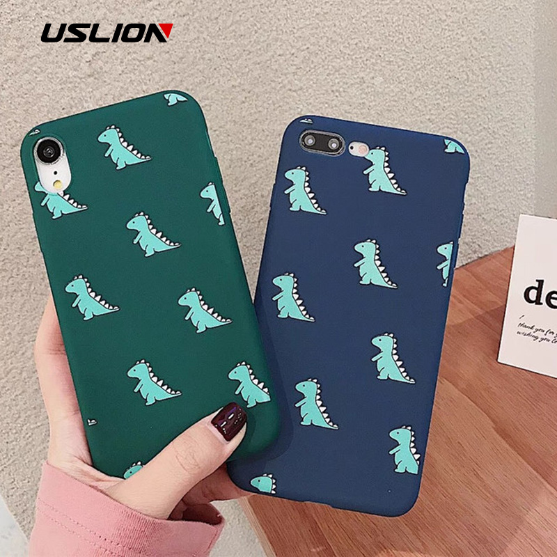 USLION Cartoon Funny <font><b>Dinosaur</b></font> Phone <font><b>Case</b></font> For <font><b>iPhone</b></font> 11 6 <font><b>7</b></font> 8 Plus X XR XS Max Cute <font><b>Case</b></font> For <font><b>iPhone</b></font> 6 Plus Soft Silicon Back <font><b>Case</b></font> image