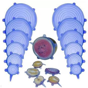 6 шт./компл. силиконовые крышки для сохранения свежести пищи прочные многоразовые термостойкие крышки для сохранения пищевых продуктов подходят для всех размеров и форм контейнеров