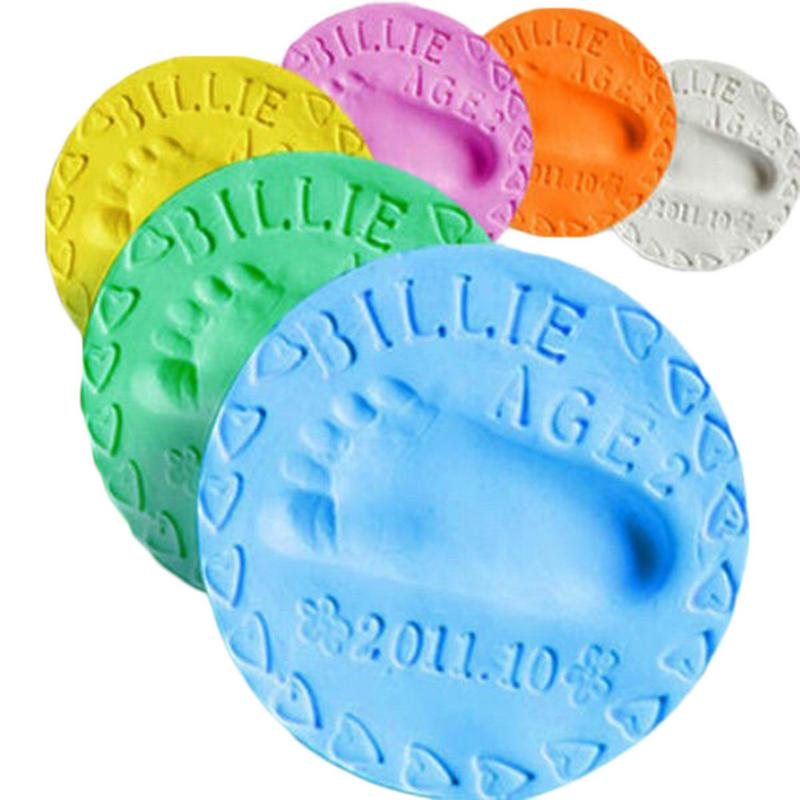 1pcs Baby Footprint Handprint Dry Air Soft Clay Infant And Child Growth Record Souvenir Footprint Mud 20g Multicolor Optional