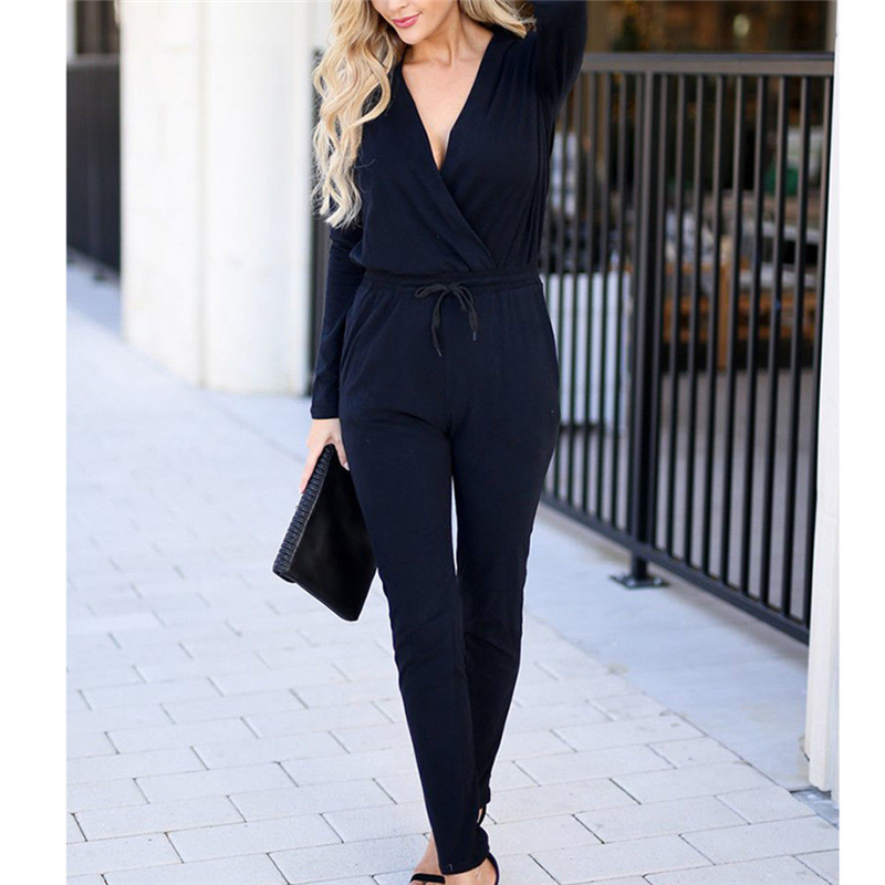 women new long sleeve knit slim   jumpsuits   criss cross lace up solid high street caskual female   jumpsuit   femme clubwear rompers