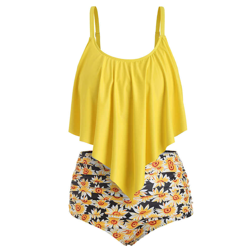 bfd0a841b3b Rosegal Plus Size Ruffled Sunflower Print Bikini Set Beach Holiday Swim Sets  Bathing Suit Sleeveless Swimwear