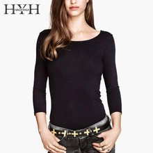 HYH HAOYIHUI New Women Simplicity Fashion Classic Pure-colour Basic Style Slim Leisure T-shirt