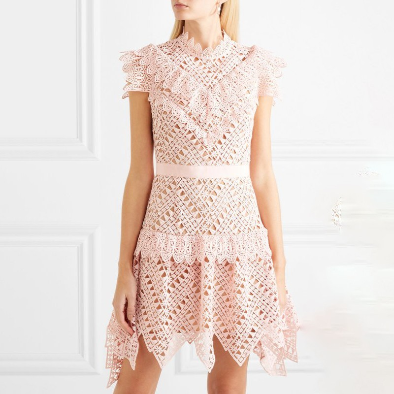 2019 Élégante L430 Manches Dentelle Évider Robe Rose Mode Haute D'été Taille À Nouveau Femmes Robes Pink Mini Courtes Femme OwqWZT