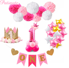 PATIMATE First Birthday Girl Party Decoration Baby 1st My happy 1 year Shower baptism