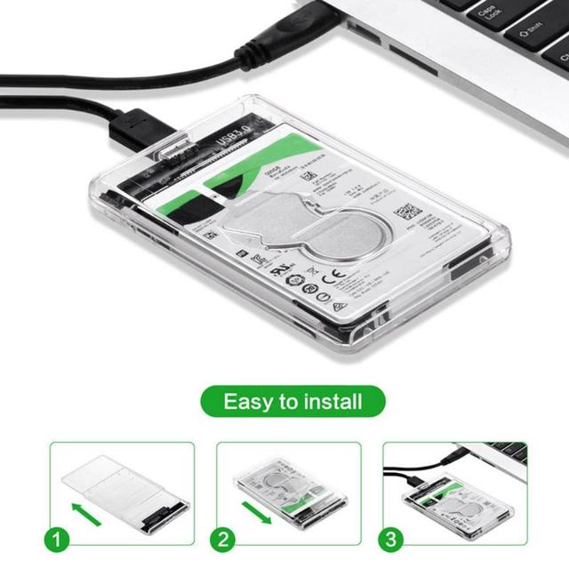 2.5 Inch USB to SATA Transparent HDD Case USB 3.0 SATA HDD SSD Solid State Drive Hard Disk Enclosure Box Caddy 2TB