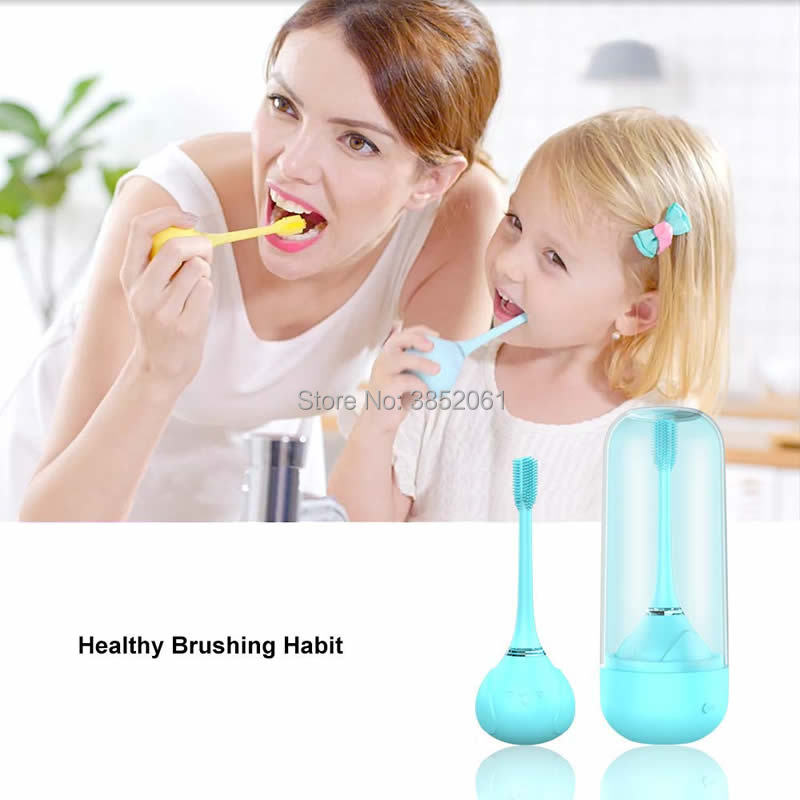 Ultrasonic Kids Toothbrush, 360 degree Silicone Baby Electric Toothbrush,Food grade silica gel Soft and safe, Wireless charging