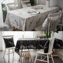 Nordic Marble Printed Tablecloth Rectangular Waterproof Cotton Linen Kitchen Dining Table Cover Home Decor Textile